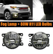 Pair Of Fog Light Driving Lamp 80w H11 Led Bulbs Right Left Side Pc Lens