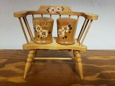 Mid Century Modern Wooden Chair with Wooden Salt & Pepper Shakers made Japan