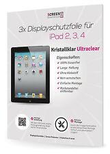 3x Displayschutzfolie für Apple iPad 4 / 3 / 2 Generation Schutzfolie Clear Klar