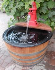 1/2 Barrel Fountain, Old Fashion Hand Pump Red