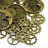 Mixed Antique Bronze Tone Jewelry Alloy Gear Wheel Shape Pendants Charms 25pcs