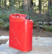 Vintage Red Blitz 5 Gallon Metal *USMC* Jerry Jeep GasCan 5-92