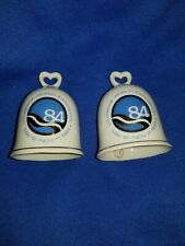 "Set of 2 Vintage Porcelain 1984 Louisiana World Exposition Japan Bells 3.5"""