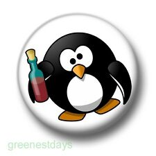 Drunk Penguin 1 Inch / 25mm Pin Button Badge Collector Alcohol Party Stag Do Fun