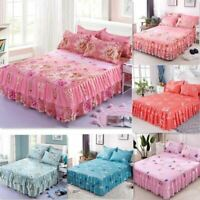 3pc/Set Floral Bed Skirt Fitted Sheet Cover Graceful Bedspread Double Lace Beddi