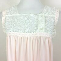 Vintage COLONY CLUB Nightgown Pink Nylon White Embroidered Lace Sleeveless Small
