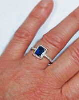 Beautiful 925 Silver Blue and White Cubic Zirconia Ring