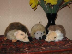Hedgehog Lot of 3 Vintage German Stuffed Plush