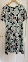 M&S Collection Petite Floral Print Blue Flare Dress UK 14