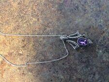 Vintage Avon Art Deco Style Silvertone Marcasite Amethyst Glass Pendant Necklace