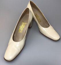 Salvatore Ferragamo Block Heel Pumps Size 7.5 AAAA Off White Bone Davallia