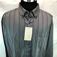Expressions Worldwide Gray Blue Purple Striped Button Down Long Sleeve XL FF13