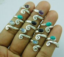 Exclusive 925 Silver Overlay Mix Gemstone 10 pcs Adjustable Toe Ring Lot-216