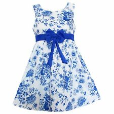 New Girl Dress Fashion Blue Flower Print Dresses Bow Party Casual Child Clothes