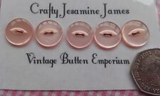 5 Baby Pink Translucent Vintage 16mm Fisheye Cardigan Buttons