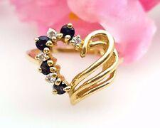 Heart Ring 14k Yellow Gold 0.12Ct Round Diamond & 0.25Ct Blue Sapphire Ring