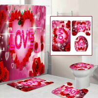 Valentine's Roses Shower Curtain Bathroom Non-Slip Bath Mat Rug Lid Toilet Cover