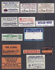 Vintage Mid Century 13 Dif.  Pharmacy Apothecary Medicine Labels, Opium Codine*
