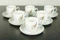 6 Kaffee Tassen auf Untert. Rosenthal Asimmetria Goldblume Porzellan Service Neu