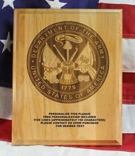 Personalized US Army Seal Plaque, award, military gift, custom engraved 8x10 in