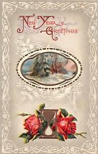 Winter Scene Near Hourglass With Two Red Roses-1910 New Year PC-Serie Number 627
