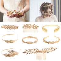 Gold Leaves Wreath Vintage Pearl Wedding Tiara Headband Women Girls Hair Crown