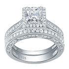 Women 2ct Princess Aaaa Cz 925 Sterling Silver Wedding Engagement Ring Set 4-13