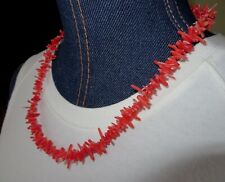 """Red Chipped Coral Necklace 21"""" Silver Finish Toggle Fastner Never Been Worn"""