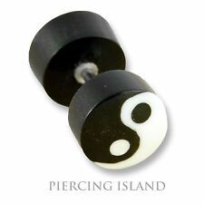 Paar ! Ohrringe Ying Yang Fake Piercing Flesh Tunnel Horn Bone Ear Plug  F109