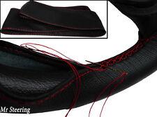 Para Nissan 300zx Z32 Negro Cuero Italiano cubierta del volante Rojo Stitch