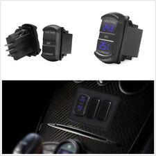 DC12-24V/0.1-10A Dual Blue LED Car Marine 2-in-1 Amp Current Meter Voltage Gauge
