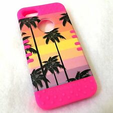 For iPHONE 5 5S SE - HARD & SOFT RUBBER HYBRID ARMOR CASE PINK SUNSET PALM TREES