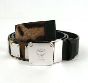 $550 MCM Black Leather/Pony Hair Belt with Silver Square Buckle MXB8MM30EG001