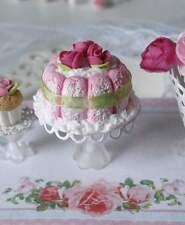 dolls house miniature 1:12 food - gâteau  charlotte rose poudrée  en fimo