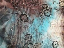 "2 yards & 22"" stretch poly spandex lycra fabric tie dye print golden glitter"