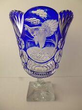 Bohemian Czech cut glass vase - Cobalt blue/clear