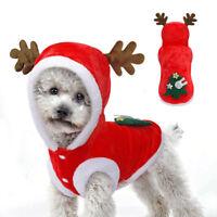 Xmas Dog Christmas Costumes Reindeer Hoodie Jacket Clothes Pet Cat Jumpsuit Coat