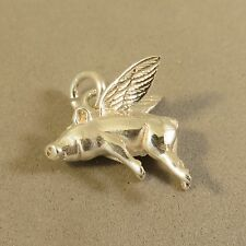 .925 Sterling Silver 3-D WHEN PIGS FLY CHARM NEW Pendant Flying Piglet 925 AN81