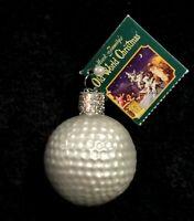 Vintage Merck Family Old World Christmas Mercury Glass Golf Ball Ornament NIB