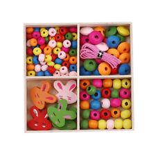 LOT de 2 BOITES KITS PERLES en BOIS multicolores création bijoux enfant