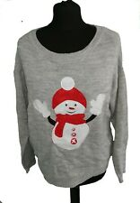 GREY ' SEQUIN SNOWMAN ' CHRISTMAS JUMPER - UK Size 12 / 14