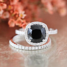 2 CT Cushion Cut AAA Black Diamond 2pcs Bridal Ring Set In 14K White Gold Over