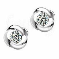 Fashion 1 Pair Elegant Women 925 Silver Crystal Rhinestone Ear Stud Earrings Rotating Diamond
