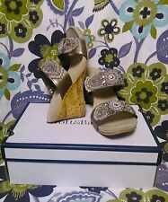 Croft & Barrow Women's Darcy Embellished Pewter Wedge Sandals Sz 9.5 NEW $59.99