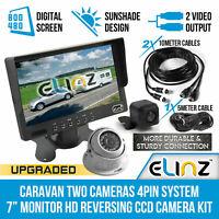 """7"""" Monitor Caravan 2 Camera 4PIN System 12V/24V Reversing CCD Reverse Camera Kit"""