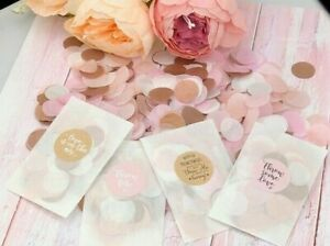 Biodegradable Confetti Wedding Bags Packets Rose Gold Pink White Pastel Glassine