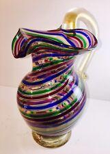 """Stunning MCM Murano Art Glass Fazzoletto A Canne Mezza Filigrana Pitcher 9.5"""""""