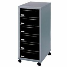 6 DRAWER 'PIERRE HENRY' SILVER BLACK  FILING CABINET + / - WHEELS A4 / NEW +24h
