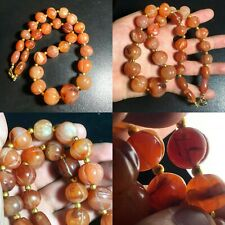 African Old Carnelian Pumkin carved Genuine Agate Stone Beads Lovely  Necklace
