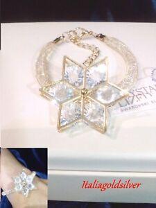 Bracciale Donna SWAROVSKI ORIGINALI Oro Giallo Ragazza Cristalli Gioielli Fiore